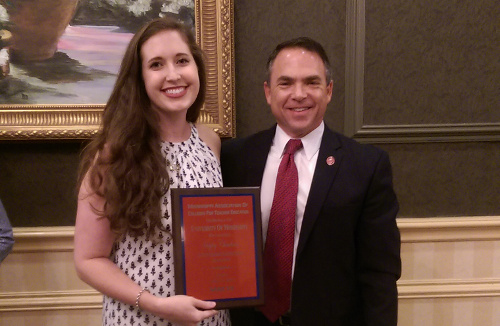 SOE senior Haley Cheatham (left) with UM School of Education Dean David Rock at MDE.