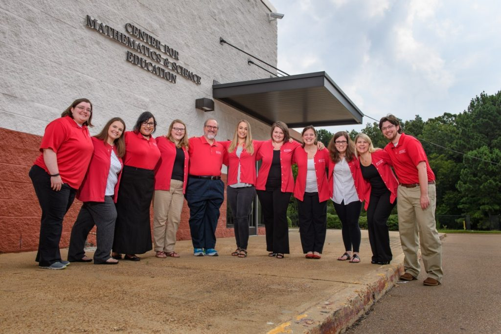 The staff of the CMSE is happy to reclaim its newly renovated facility. Left to right: Dr. E. Paige Gillentine, Dr. Julie James, Amanda Pham, Audra Polk, Mannie Lowe, Meredith Miller, Dr. Alice Steimle, Whitney Jackson, Ashley Masinelli, April Kilpatrick, Justin Ragland